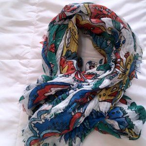Raw Edge Floral Light-Weight Scarf